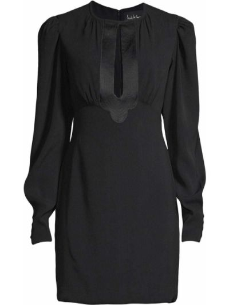 Шелковое платье мини - черное Nicole Miller