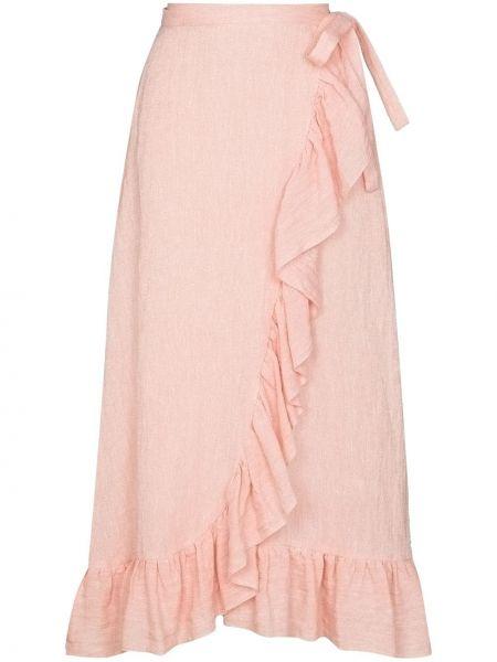Розовая юбка с запахом с оборками Lisa Marie Fernandez
