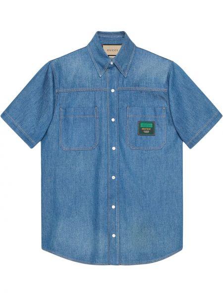 Koszula jeansowa krótki rękaw - niebieska Gucci