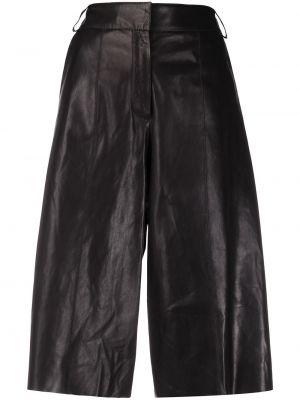 Кожаные черные укороченные брюки с карманами с высокой посадкой Arma