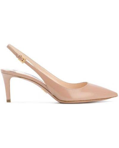 Туфли-лодочки на высоком каблуке с открытой пяткой Prada