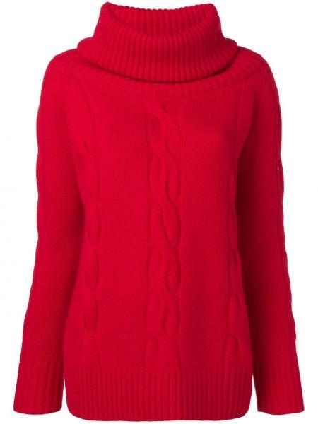 С рукавами кашемировый красный свитер в рубчик Philo-sofie