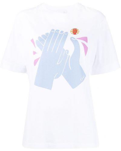 Трикотажная прямая белая футболка Chloé