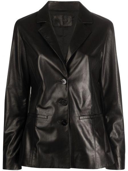 Черный приталенный кожаный пиджак Drome