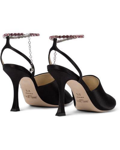 Skórzany czarny sandały Jimmy Choo