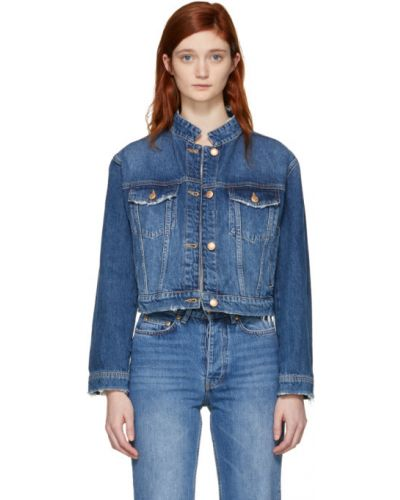 С рукавами синяя джинсовая куртка с воротником Won Hundred
