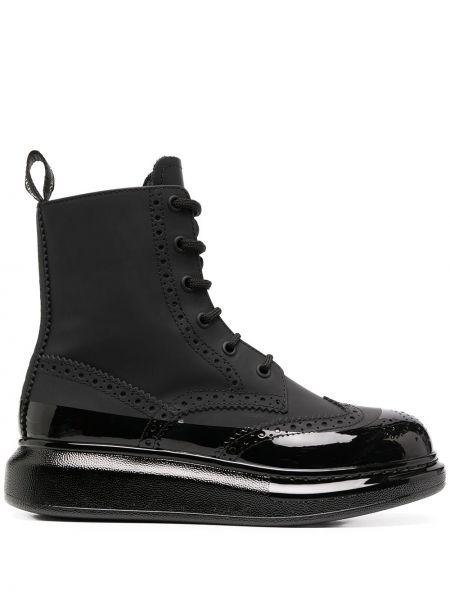 Skórzany czarny buty na pięcie zasznurować przeoczenie Alexander Mcqueen