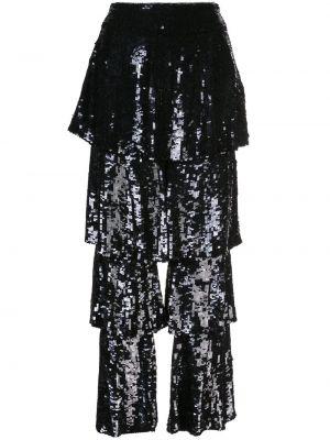Czarne spodnie z wysokim stanem z paskiem Osman