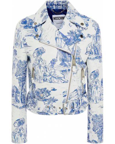 Biała kurtka pikowana skórzana Moschino