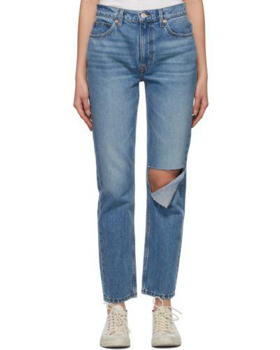 Białe jeansy bawełniane z paskiem Re/done
