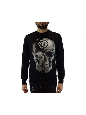 Czarna bluza z długimi rękawami bawełniana Philipp Plein