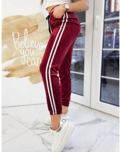 Czerwone spodnie sportowe w paski materiałowe Dstreet