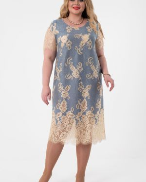 С рукавами вечернее платье с вышивкой с вырезом круглое Wisell