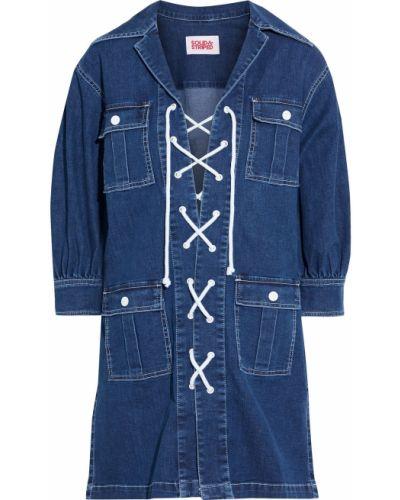 Кружевное синее платье мини в полоску Solid & Striped