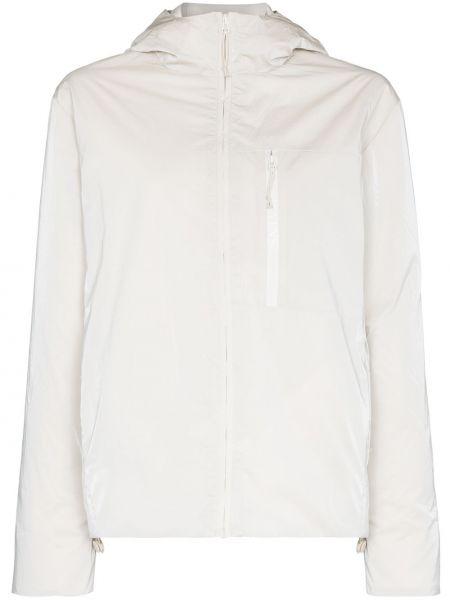 Белая длинная куртка с капюшоном с длинными рукавами Rains