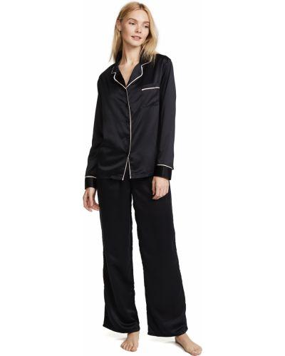 Satynowa czarna koszula z długimi rękawami Bluebella
