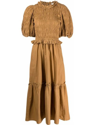 Хлопковое платье макси - желтое Sea