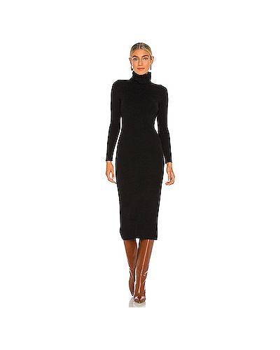 Кашемировое черное платье миди эластичное Cupcakes And Cashmere