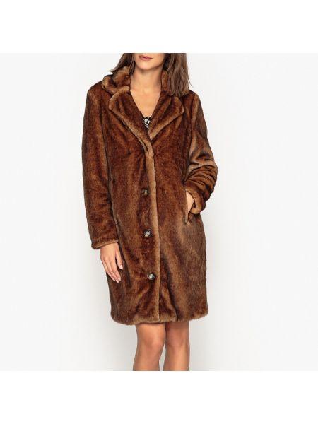 Акриловое серое длинное пальто с воротником на пуговицах Oakwood