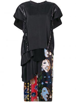 Czarna sukienka mini z falbanami z wiskozy Carven