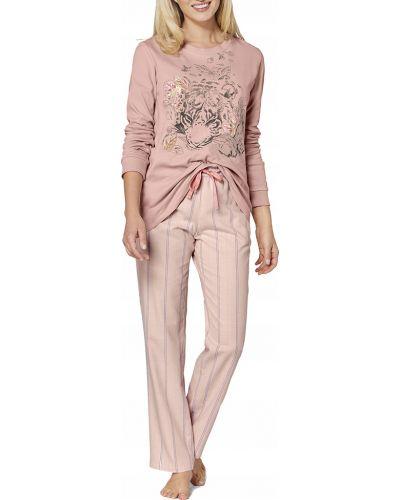 Różowa piżama bawełniana z długimi rękawami Triumph