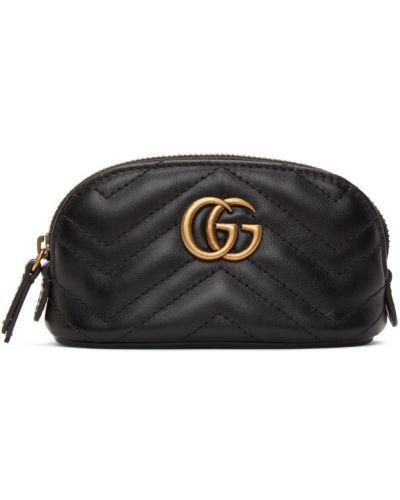 Skórzany pikowana czarny torebka na łańcuszku z łatami Gucci