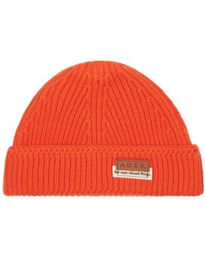 Pomarańczowy wełniany czapka z haftem Ader Error