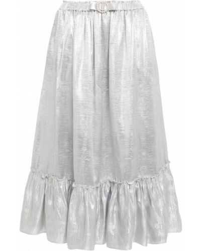 Серебряная юбка миди металлическая с подкладкой Shrimps