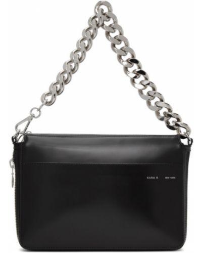 Черный кожаный кошелек с карманами из натуральной кожи с заплатками Kara