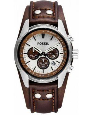 Часы с кожаным ремешком универсальный коричневый Fossil