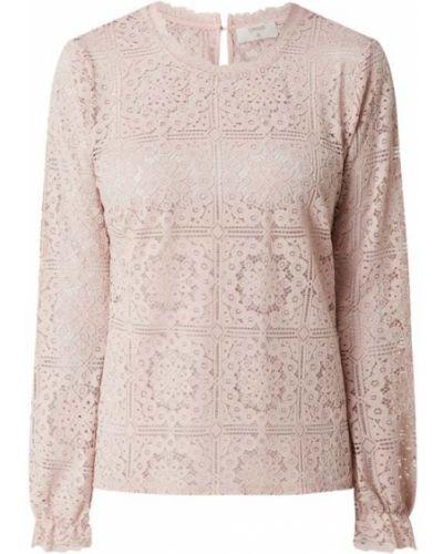 Bluzka koronkowa z długimi rękawami - beżowa Cream