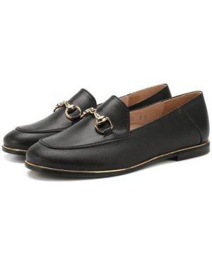 Черные кожаные лоферы узкого кроя на широком каблуке Beberlis
