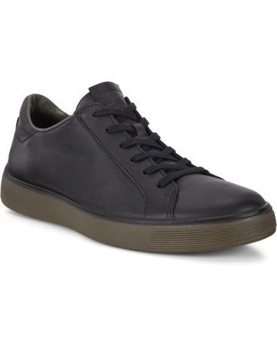 Модные кожаные черные кеды Ecco