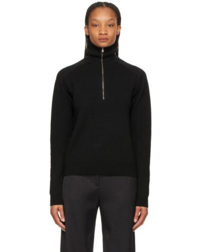 Черный шерстяной длинный свитер с воротником Toteme