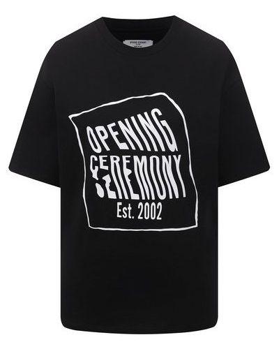 Хлопковая футболка - черная Opening Ceremony