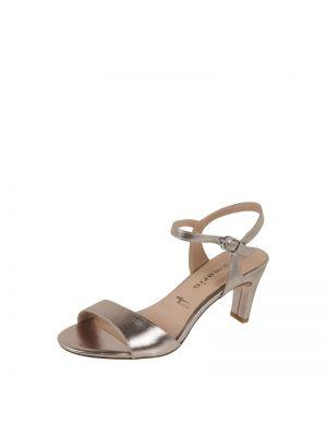 Złote sandały na szpilce Tamaris