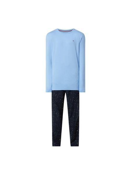 Bawełna niebieski spodni piżama z długimi rękawami z kieszeniami Tommy Hilfiger