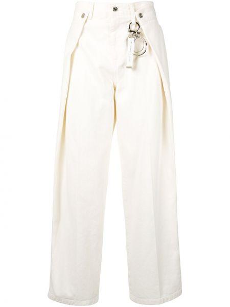 Плиссированные белые свободные широкие джинсы с нашивками Wooyoungmi