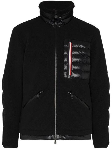 Puchaty czarny długa kurtka z kieszeniami z długimi rękawami Moncler