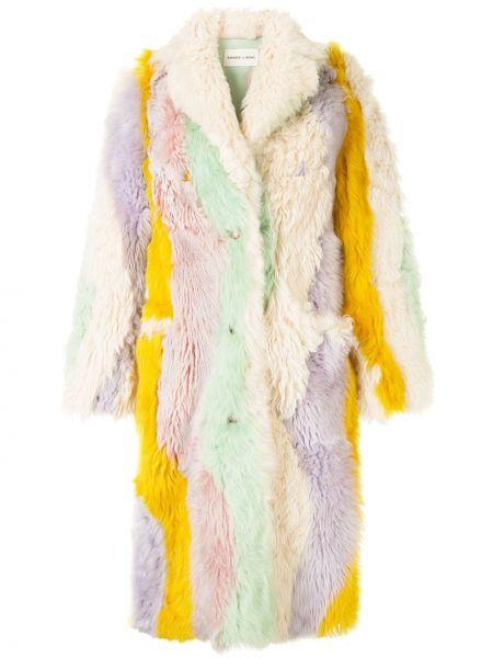 Желтое кожаное пальто со вставками на пуговицах свободного кроя Sandy Liang