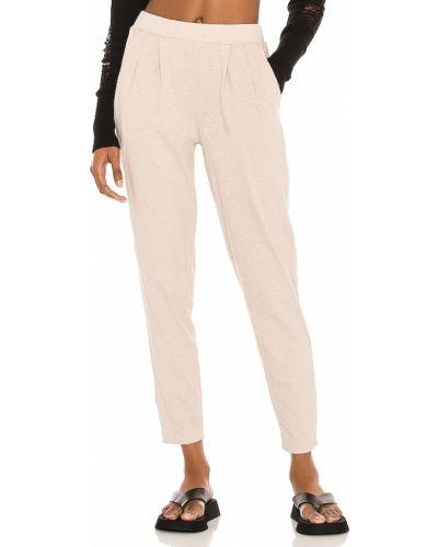 Бежевые трикотажные брюки на резинке Bobi