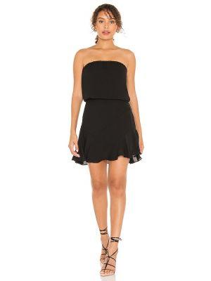 Черное шифоновое платье мини с декольте Krisa