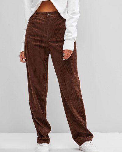 Кофейные с завышенной талией брюки вельветовые Zaful