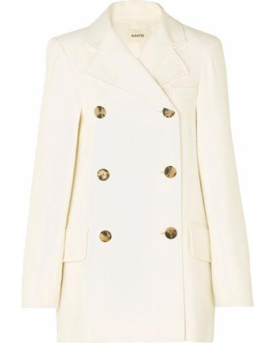 Бежевое пальто двубортное с карманами Khaite