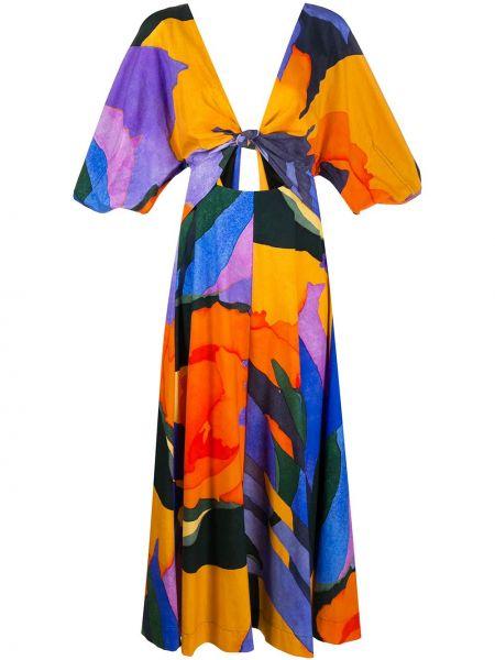Платье миди с V-образным вырезом с абстрактным принтом Mara Hoffman