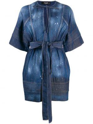 Платье мини джинсовое с V-образным вырезом Dsquared2