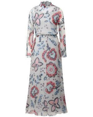 Приталенное шелковое платье с декольте с воротником Giorgio Armani