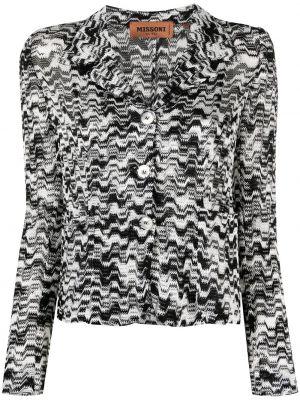 Черный удлиненный пиджак в полоску с воротником Missoni