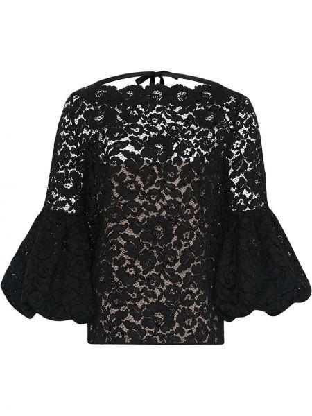 Пышная черная кружевная блузка Oscar De La Renta