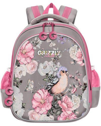 Текстильный школьный ранец на бретелях с карманами Grizzly